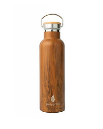 25oz Elemental Stainless Classic Water Bottle - Teak Wood: Bamboo Cap
