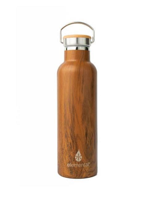 25oz Elemental Stainless Classic Water Bottle - Teak Wood: Bamboo Cap