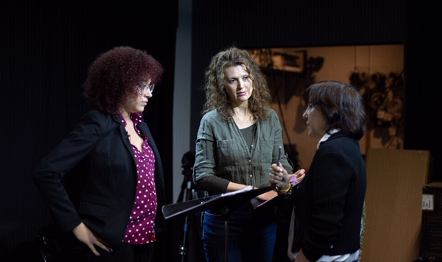 Chelsea Davis, Laura Lockwood and Daria Sommers rehearsing for Turning Your Body Into a Compass