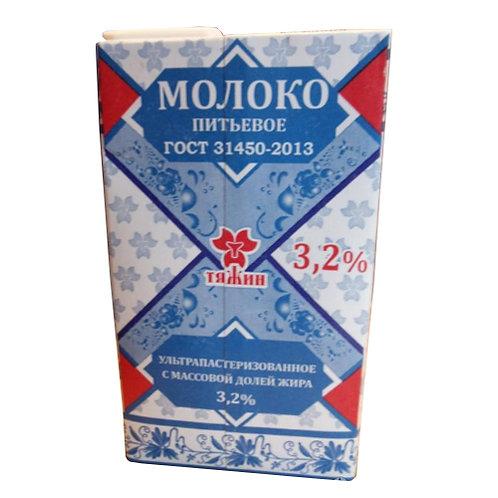 """Молоко """"Тяжин"""" 3,2% 1л (1х12) Кемеровская обл. оптом"""