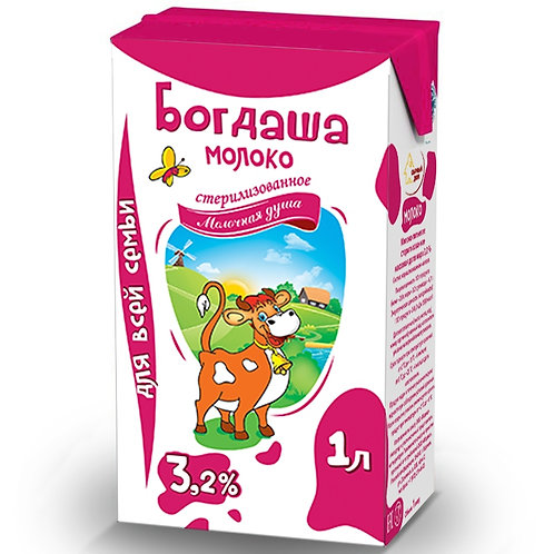 "Молоко ""Богдаша""  3,2% 1л (1х12) (кр) Беларусь оптом"