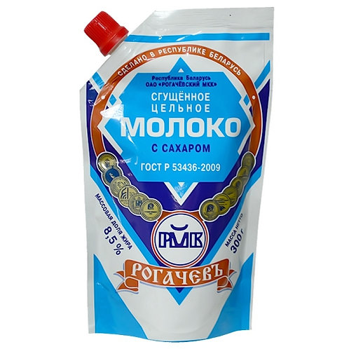 """Сгущеное молоко """"Рогачёв"""" 300гр пакет 1шт. оптом"""