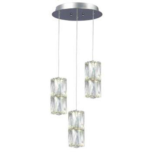 "Estella 9"" Round LED Double Crystal Multi Pendant"