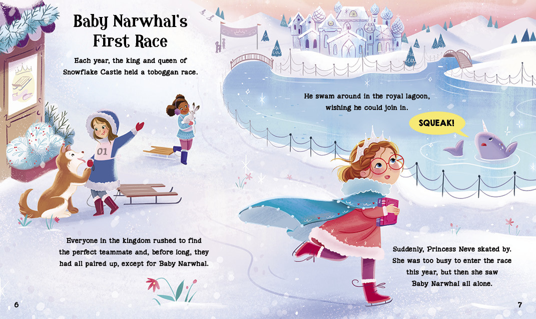 Spread from Baby Narwhal's First Race