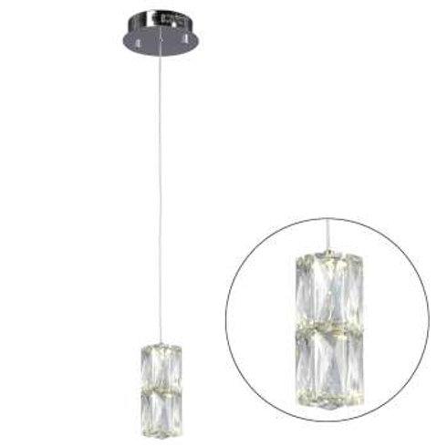 """Estella 5"""" Round LED Double Crystal Pendant"""