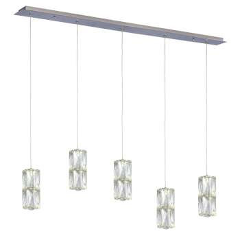 "Estella 36"" Linear LED Double Crystal Multi Pendant"