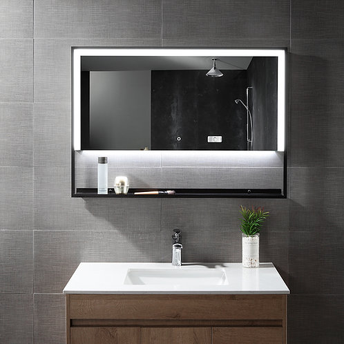 "47"" x 28"""" Rectangular LED Mirror with Built in Shelf"