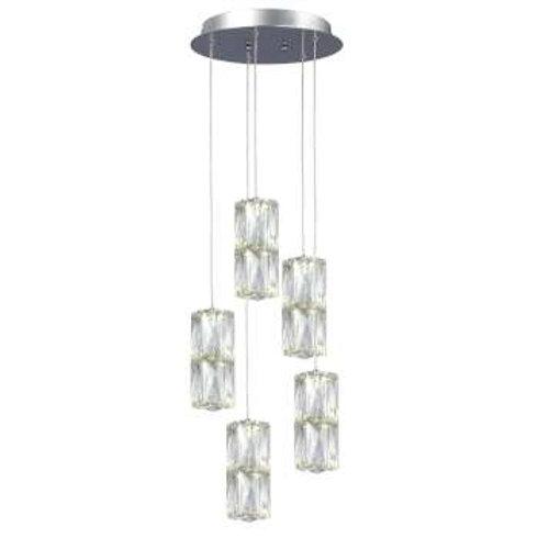 """Estella 12"""" Round LED Double Crystal Pendant"""
