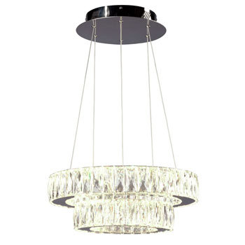 "Estella 18"" LED Crystal Chandelier - 2 Tier"