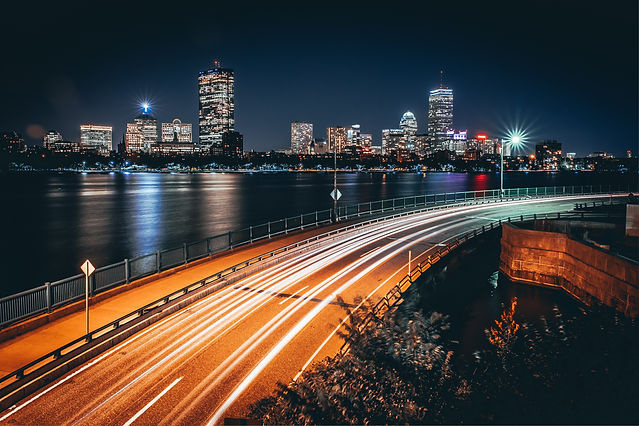Boston City View and Car Lights