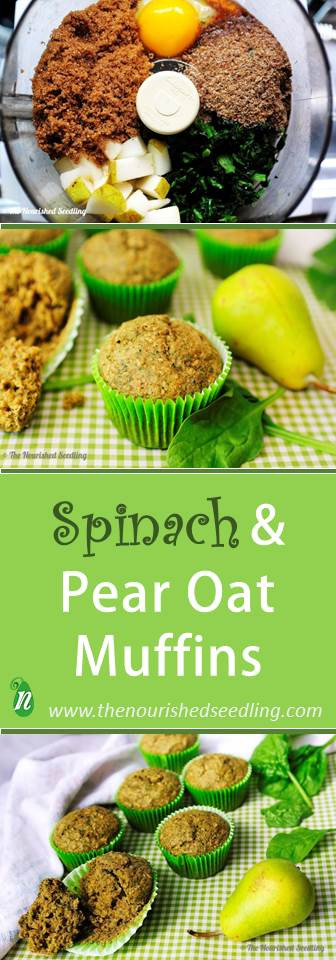 healthy spinach pear and oat muffins
