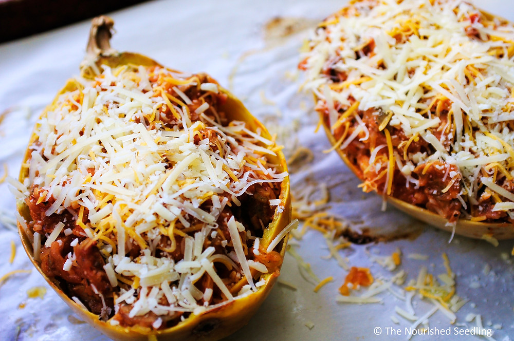 baked spaghetti squash with marinara and chicken sausage