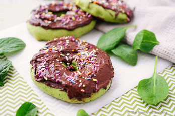 Baked Spinach Donuts with Chocolate Frosting