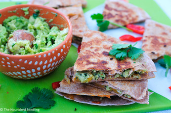 Kale and Red Pepper Chicken Quesadillas