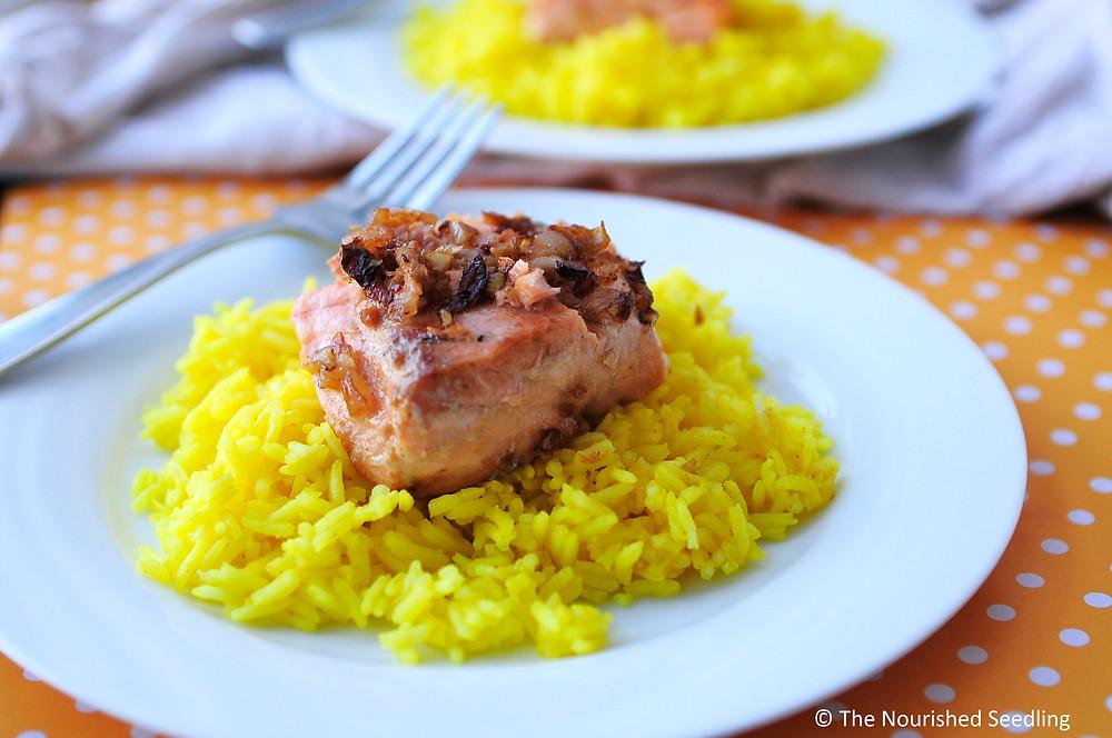 shallot and pan seared salmon