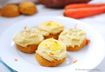 Fluffy Sweet Potato and Carrot Sugar Cookies with Turmeric Frosting