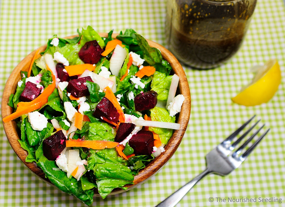 rosemary roasted beet and root vegetable salad