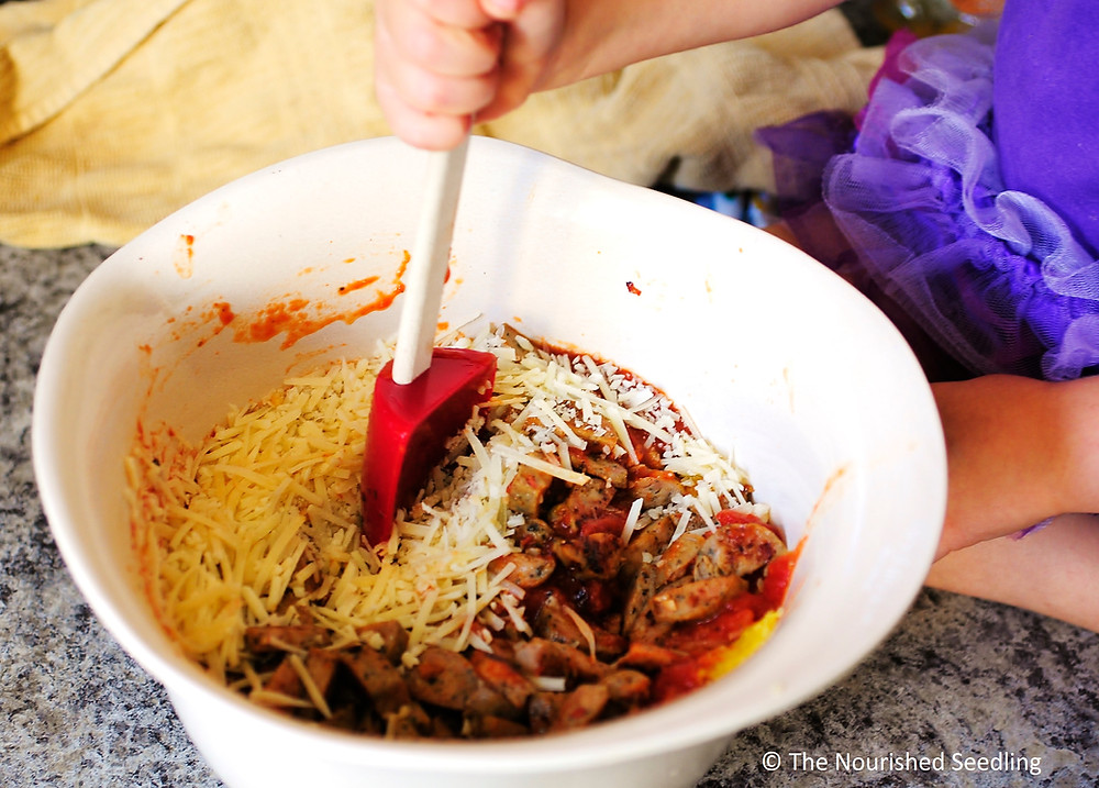 baked spaghetti squash with marinara and chicken sausage