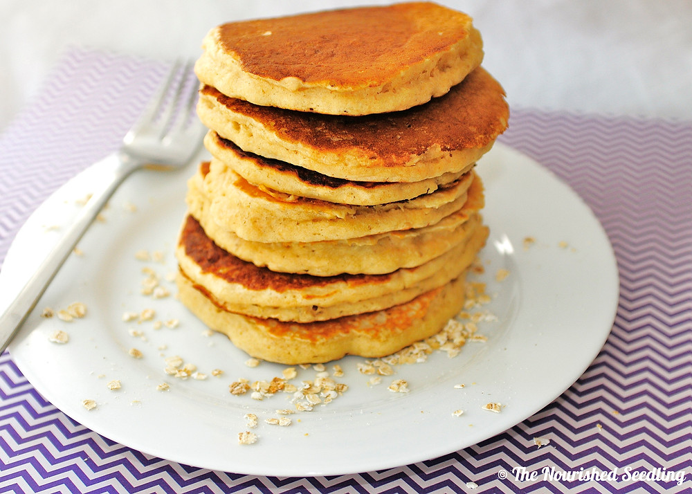 easy whole wheat oatmeal pancakes