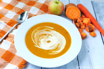 Roasted Sweet Potato, Carrot and Apple Soup