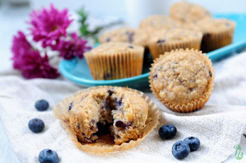 No Refined Sugar Blueberry Banana Muffins