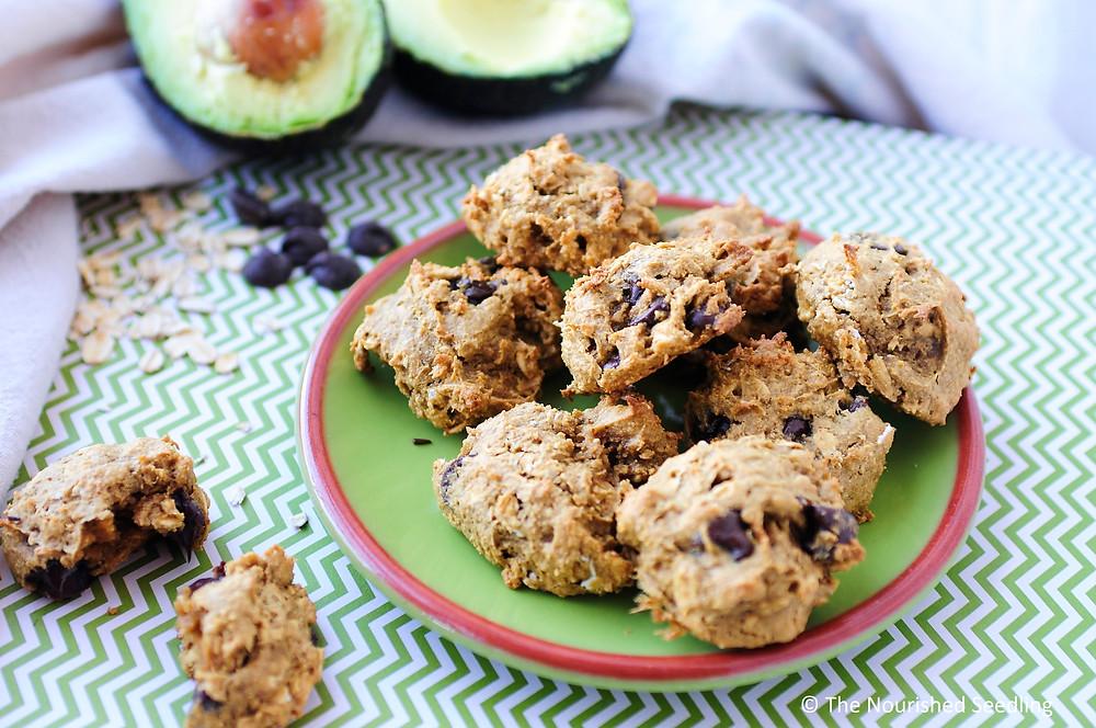 avocado oat chocolate chip cookies