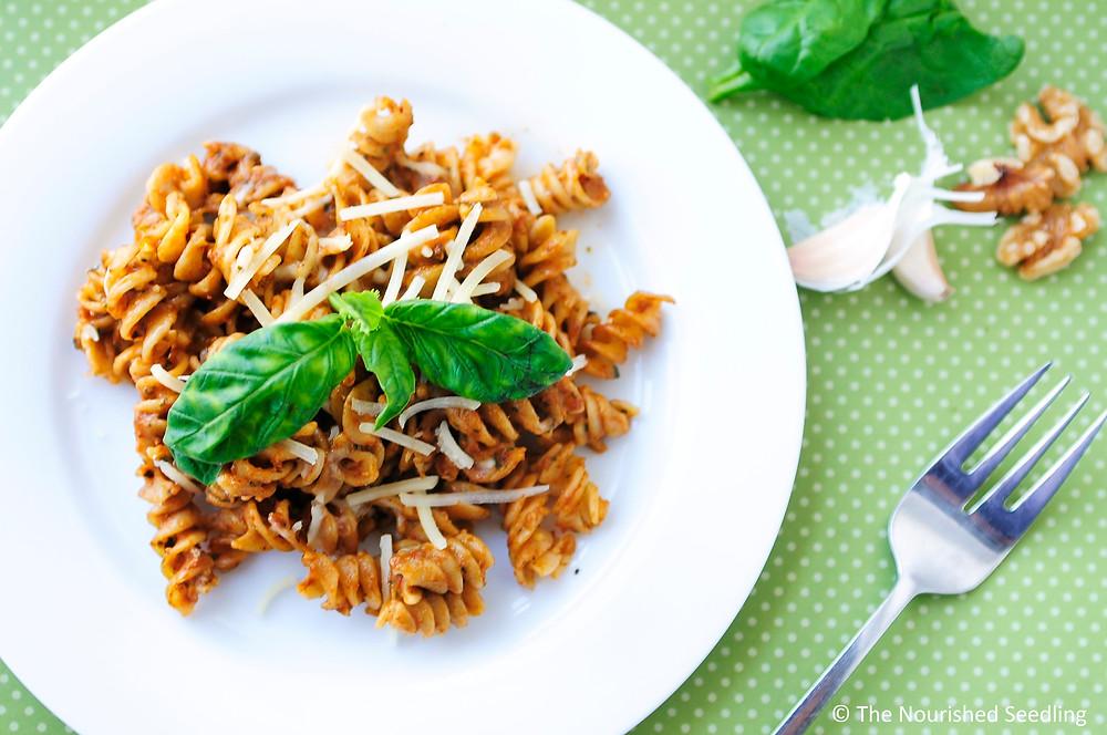 spinach-and-walnut-pesto-mostaccioli