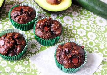 Double Chocolate Zucchini and Avocado Muffins