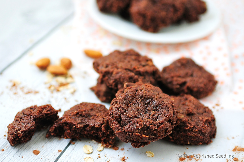 chocolate almond butter oat cookies