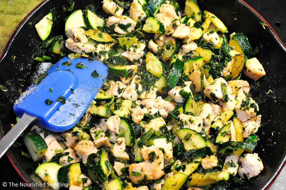 healthy veggie and chicken lasagna