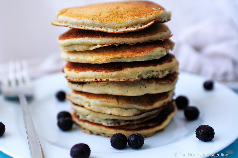 almond-oatmeal-blueberry-pancakes