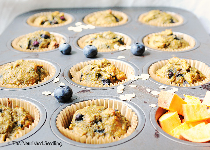 sweet potato and blueberry oat muffins