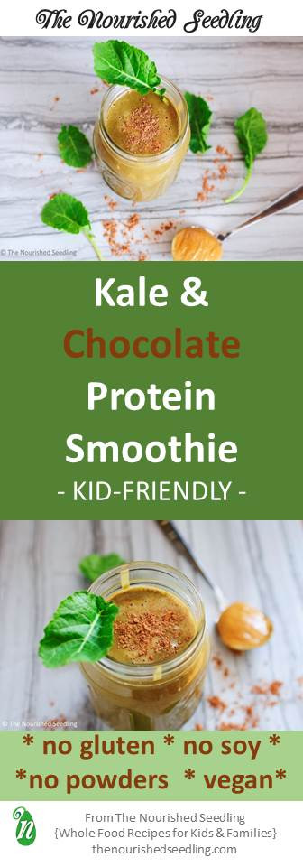 kid friendly kale and chocolate protein smoothie