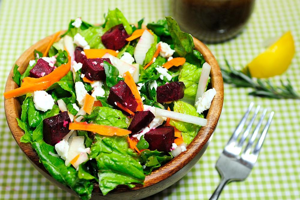 rosemary roasted beet and feta salad
