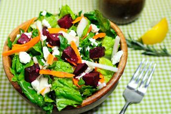 Rosemary Roasted Beet and Root Vegetable Feta Salad