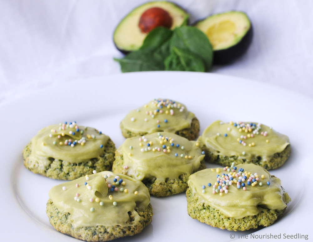 spinach cookies with avocado frosting