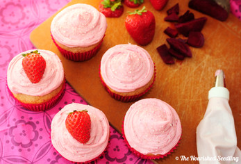 Whole Wheat Strawberry Cupcakes with Strawberry Beet Frosting