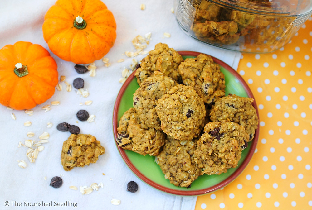 soft batch pumpkin oatmeal chocolate chip cookies
