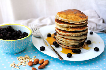 Almond and Oatmeal Blueberry Pancakes