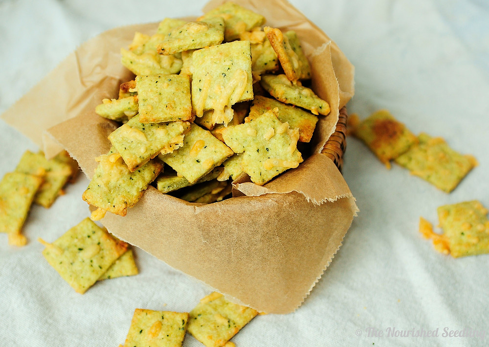 homemade kale and parmesan cheese crackers