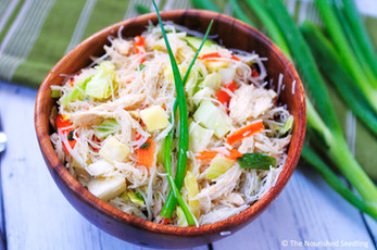 Toasted Sesame Cabbage and Chicken Rice Noodle Salad