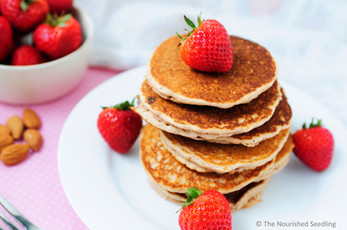 Sweet Strawberry and Almond Oat Pancakes