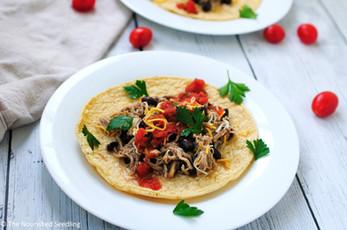 Slow Cooker Shredded Chicken, Black Beans & Salsa