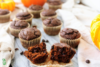 Double Chocolate Whole Wheat Pumpkin Muffins