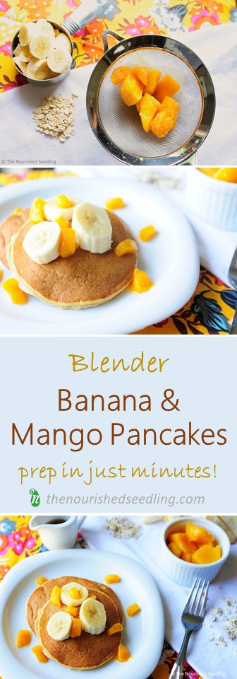 banana and mango blender pancakes