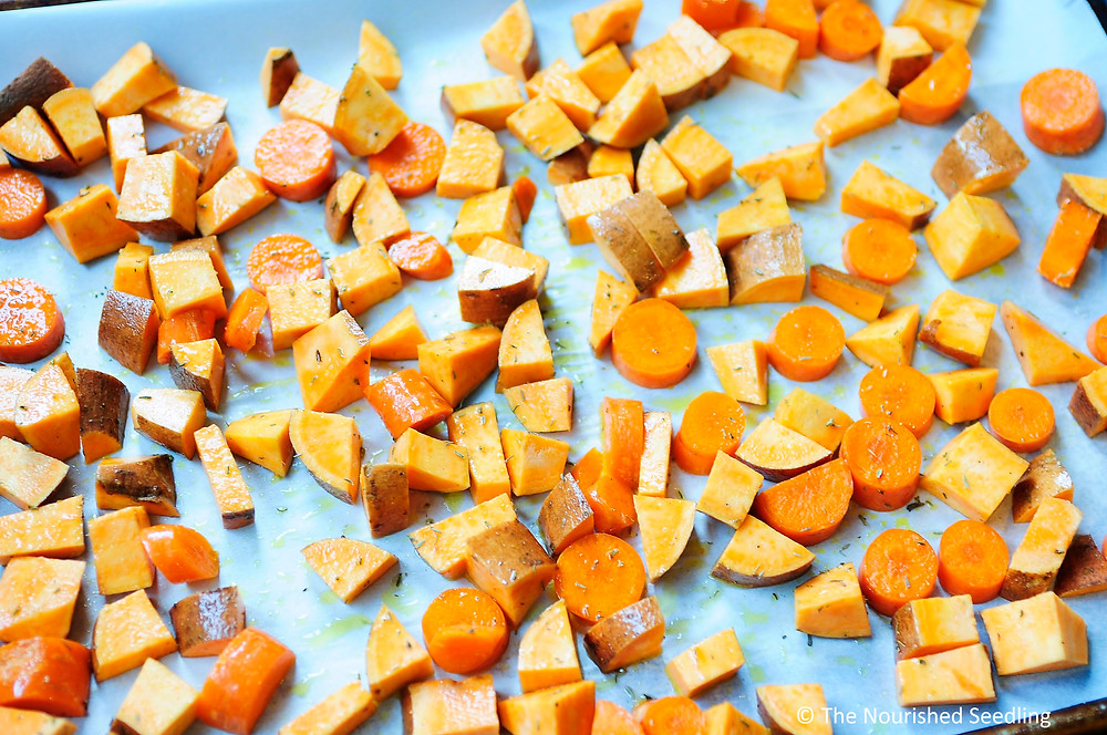 healthy roasted sweet potato carrot and apple soup