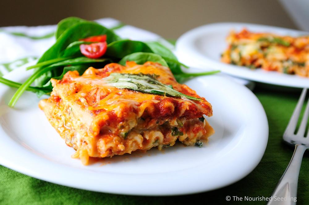 garden spinach and zucchini chicken lasagna