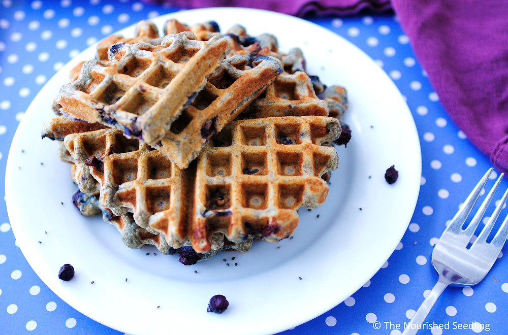 blueberry and chia seed waffles