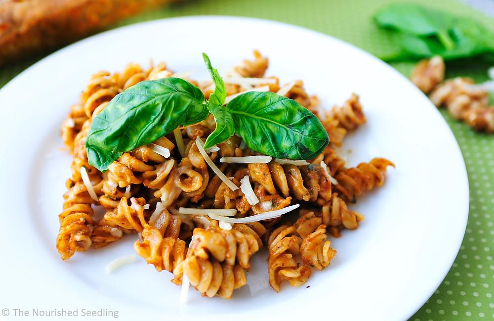 healthy-spinach-walnut-pesto-mostaccioli-recipe