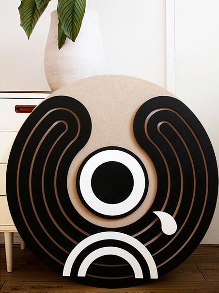 "Lasercut and painted wood, 0,75 x 0,75 meter -- ""Pierrot"" (2019)"